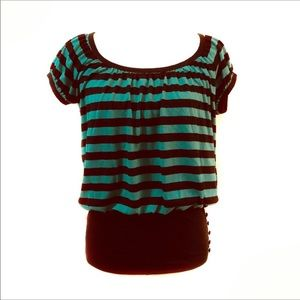 Weavers Green and Black Short Sleeve Striped Top